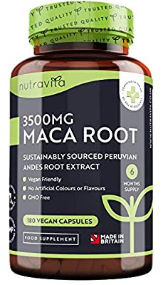 High Strength Maca Root Capsules 3500mg - 180 Vegan High Potency Capsules - 6 Months' Supply - Made in The UK by Nutravita
