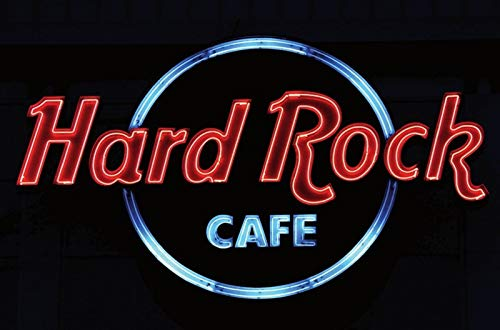 FS Retro Hard Rock Cafe Neon Reklame Blechschild Schild gewölbt Metal Sign 20 x 30 cm