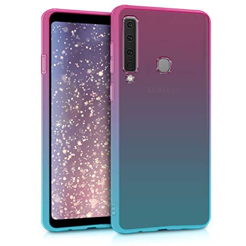kwmobile Custodia Compatibile con Samsung Galaxy A9 (2018) - Back-Cover Anti-Urto Custodia in Morbido Silicone Fucsia/Blu/Trasparente - 2 Colori