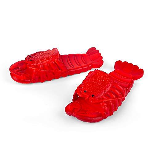 Coddies Pantuflas de langosta, regalo divertido, sandalias unisex, toboganes, piscina, playa y ducha, para hombres, mujeres y niños, color Rojo, talla 39/40 EU