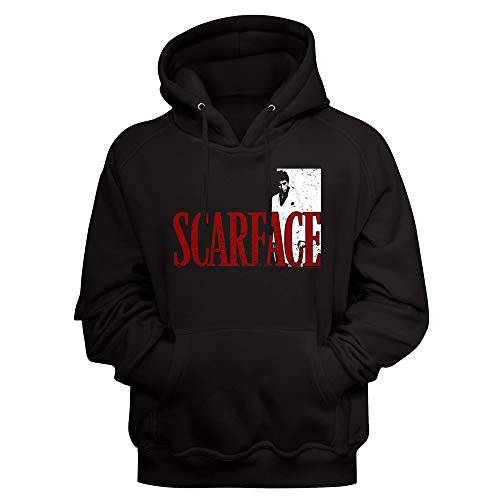Scarface Kultige 80er Jahre Film Tony Montana Distressed Look Erwachsene Langarm Hoodie Sweatshirt - Schwarz - X-Large