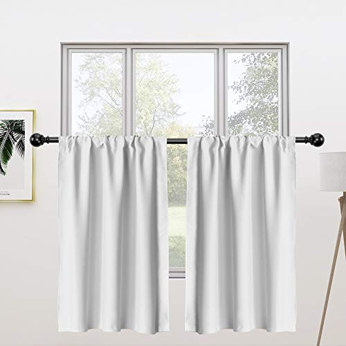 FLOWEROOM Tier Kitchen Curtains Set, 30 x 24 inch Long, Greyish White, 2 Pieces – Rod Pocket Short Blackout Curtains for Small Windows, Room Darkening and Thermal Window Treatment Cafe Curtain Panels
