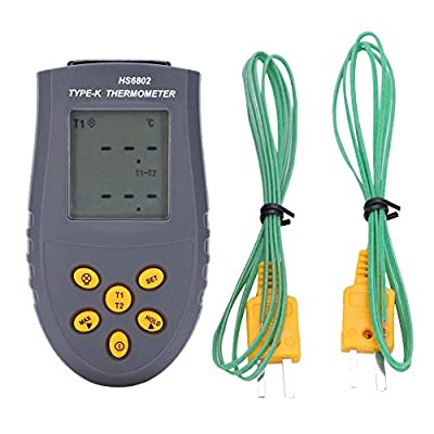 Digital Thermometer Meter with Dual?Channel LCD Display HS6802 Temperature Measuring Equipment for Fish Tanks, Pools