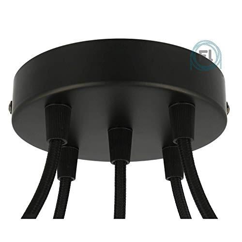 Flairlux All-in-One Baldachin für Lampe 5 Loch Metall schwarz rund 120x25mm inkl Wago Klemmen, Klemmnippel konisch