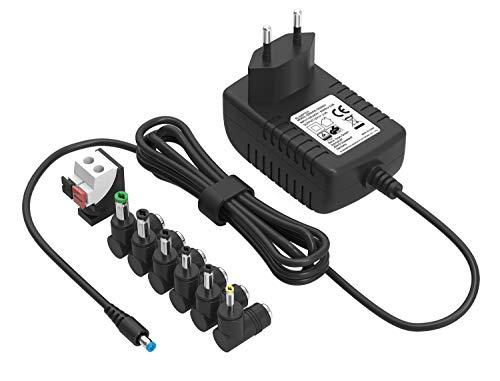 Chargeur Universal 12V 2A Adaptateur Secteur Portable pour Routeur, WiFi, Réservoir de Poissons, Haut-parleurs, Barrette LED, Webcam,Scanner,Interrupteur, FritzBox, boîtier décodeur (avec 7 fiches)