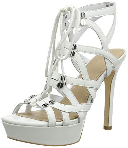 Guess Lelani/Sandalo (Sandal)/Leathe, Escarpins Bout Ouvert, Blanc (White White), 35 EU