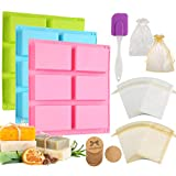 Aoibrloy 104pcs Silicone Soap making Molds Set with Gift Bag, Lable, Scraper for Homemade Soap Craft