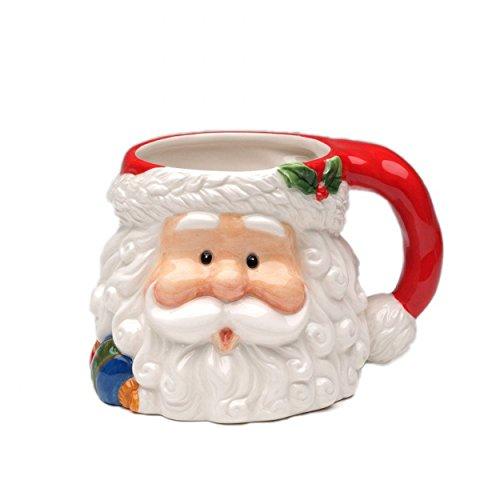 "Cosmos Gifts CS48439 Fine Ceramic Hand Painted Christmas Santa Claus Mug, 16 oz, 5-3/4"" L"