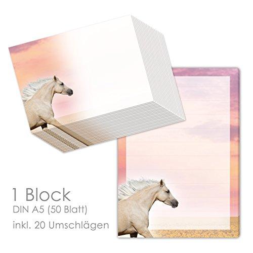 Brievenpapier set met paarden voor meisjes - schrijfblok/briefblok