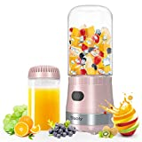 Portable Mini Blender, Personal Blender USB Rechargeable for Smoothies and Shakes with 2 Tritan BPA-Free Blender Cups, Small Smoothie Maker Protein Juice Blender Mixer (Pink)