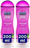 Durex Play Massage 2 en 1 Gel de Masaje Erótico y Lubricante con Aloe Vera 200 ml [Pack 2...