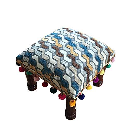 zvcv Taburete Zapatero Vintage Reposapiés  De pie de diseño tapizado para Sala de Estar, Oficina y Dormitorio  Fabricada en Tela y Madera Maciza, 30X36Cm, 30X36Cm