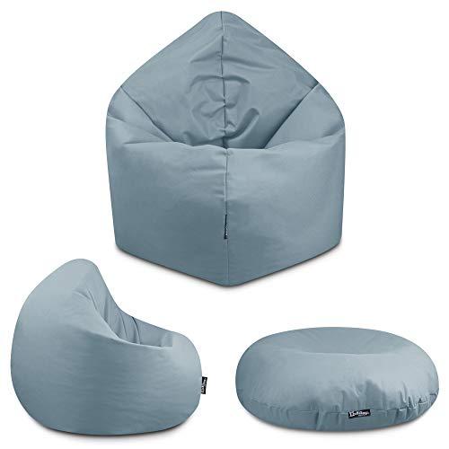 2in1 Sitzsack Bodenkissen Outdoor Sitzsäcke Indoor Beanbag in 32 Farben & 3 Größen wählbar Sitzkissen Kinder Yoga Kissen Erwachsene Schule Kindergarten (Grau-100 cm)