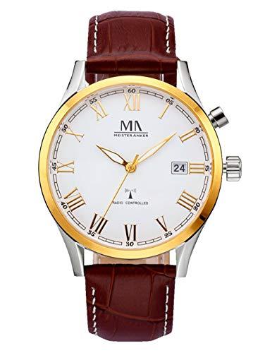 Meister Anker Herren Analog Uhr in Goldfarben mit Armband in Braun aus Leder
