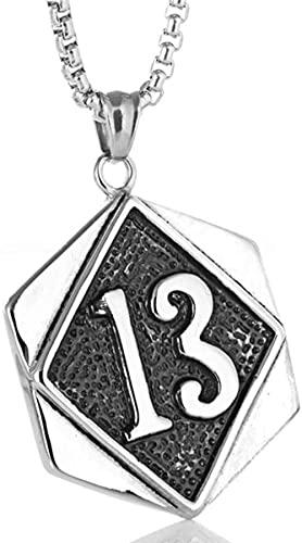 NC122 Collana in Acciaio Inossidabile con Numero 13 con Ciondolo a Catena in Acciaio al Titanio per Uomo di Moda retrò