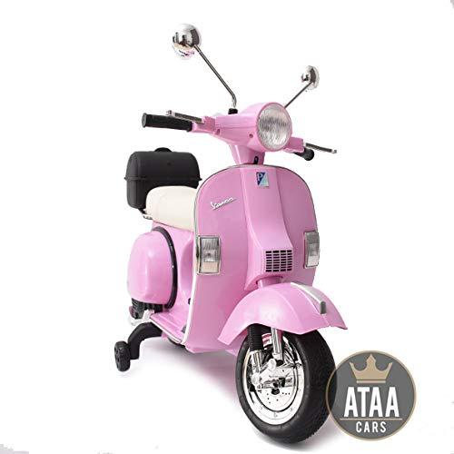 ATAA Vespa clásica Oficial 12v Licencia Piaggio - Rosa - Moto eléctrica para niños hasta 7 años. Batería 12v portamaletas de Regalo