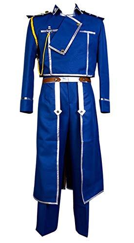 Disfraz de Roy Mustang para Hombre Fullmetal Alchemist Cosplay Uniforme del Ejrcito Militar Conjunto Completo XL
