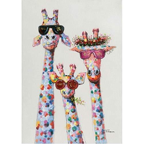 ysldtty Rompecabezas 1000 Piezas Ensamblaje Imagen Ings Arte Colorido Aceite Animal Jirafa Una Familia con Gafas Arte para Ropa De Cama para Adultos Juegos Infantiles Juguetes Educativos B-2335