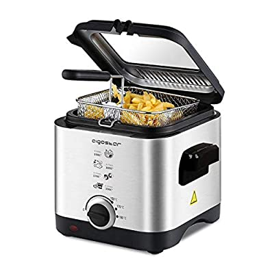 Aigostar Fries 3000041ZD - Friteuse compacte 100% sans BPA avec grande fenetre de vue et controle de la temperature. Acier inoxydable de type 304. 900W, capacite de 1,5L. Design exclusif