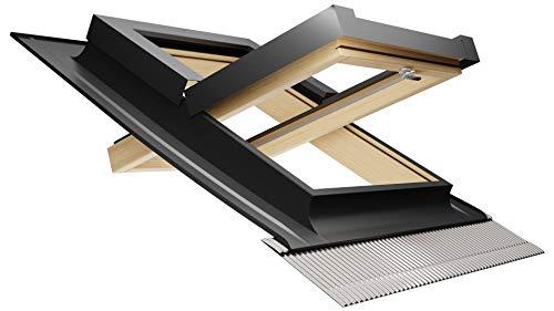 Emica - Finestra da tetto apertura Bilico in Alluminio   Linea Habitat con Vetrata basso emissivo Certificata CE   Interno Legno Abete Lamellare Prima Scelta   Apertura a 130° (55x78 Base x Altezza)