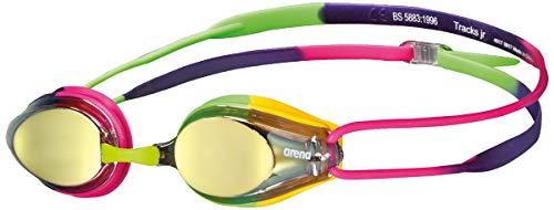Arena Tracks Jr Youth Swim Goggles, Violet/Fuchsia/Green, Mirror