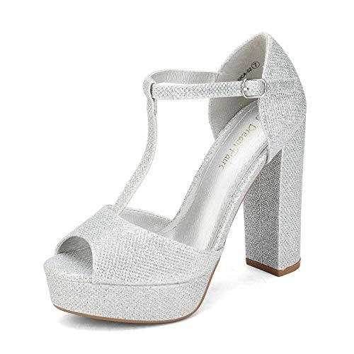 Dream Pairs Zapatillas Moda Tacón escarpín Sandalias Correa Stiletto Peep-Toe Mujer JESSICA-02 Brillo De Plata 39 EU / 8 US