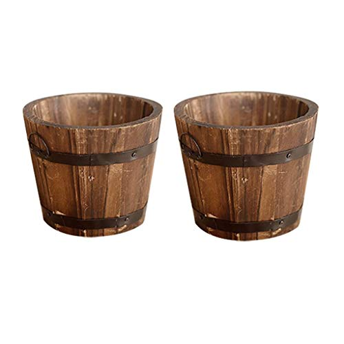 CosCosX 2 Pcs Rustic Wooden Whiskey Barrels Bucket with Handle