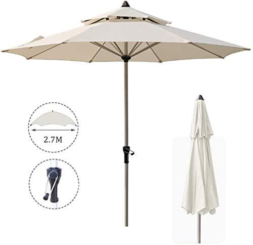 2.7M jardín Sombrilla, Anti-Ultravioleta Doble Superior Paraguas Toldo con manivela, for el jardín Balcón Terraza Excluyendo Base (Color : White)