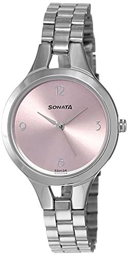 Sonata - Reloj de pulsera para mujer con esfera redonda y correa de metal plateada