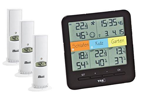 TFA Dostmann Klima Home Hygro-Station 30.3060.01 Funk-Thermo-Hygrometer mit 3 Sendern, Kunststoff, Schwarz, (L) 128 x (B) 32 (58) x (H) 128 mm