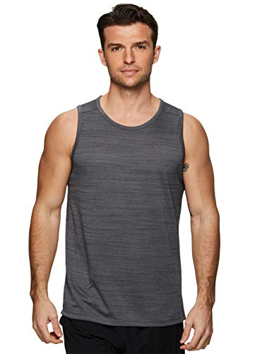 RBX Active Men's Performance Workout Gym Mesh Muscle Tank Top S19 Charcoal L