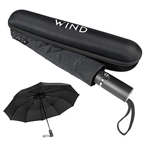 WLine Wind Mini Ombrello Pieghevole - Apertura e Chiusura Automatica, Stoffa Teflon Anti UV, Struttura Ultraresistente, Custodia, 104cm di Diametro (Nero)