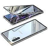 cover samsung galaxy note 10 plus adsorbimento magnetico custodia,ultra sottile 360° protezione full body trasparente vetro temperato alluminio metal bumper protettiva copertura case per note10+ 5g