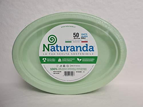 Naturanda - Piatti Ovali Verdi - Biodegradabili Usa e Getta, Made in Italy, Riciclabili Rigidi per Feste di Compleanno in Giardino, Party, Stoviglie Compostabili Ecologiche – (50pz)