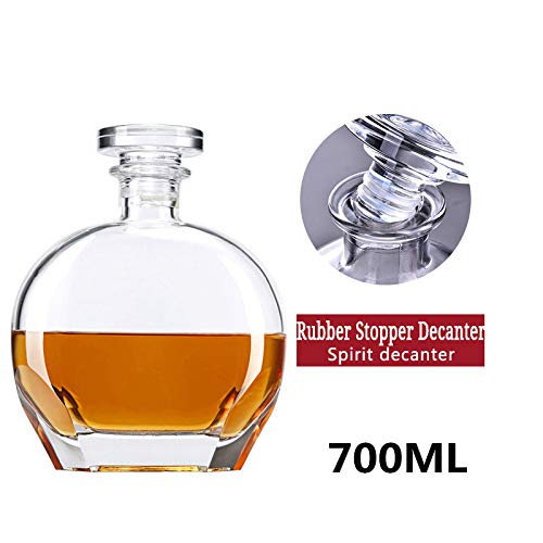 H&L Whisky/Brandy/Sherry Dekanter, Bleikristallglas Whisky Karaffen, Spirituosen-Flasche mit Wine Stoppers (700 ml / 70cl / 24.5Oz) Geschenkbox,G