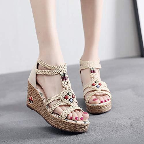 Shukun Sandales Chaussures pour Femmes Femmes Personnalité Estivale Style National bohémien compensé avec des Chaussures Romaines tissées Sandales Talons Hauts  sortie