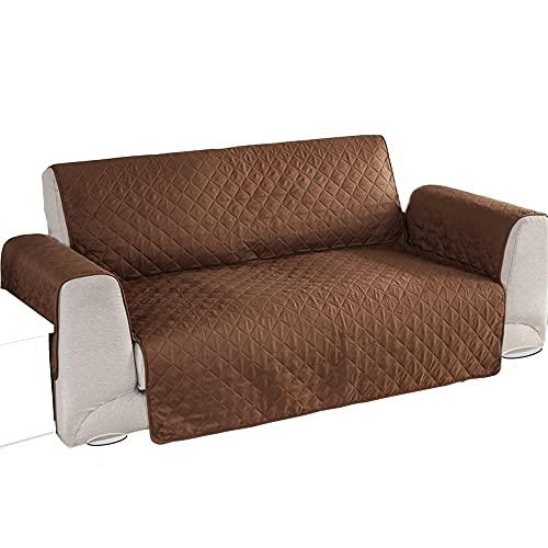 Funda Cubre sofá Reversible - 2 a 3 Plazas (165 cm) - Protector sofá para Mascotas y Manchas - Reversible Marrón y Blanco.
