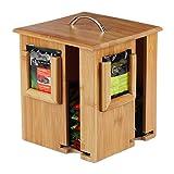 Relaxdays Caja para té e infusiones, Tapa extraíble, Cuatro Compartimentos, 160 Sobres, Marrón, 20,5 x 18 x 18 cm, Bambú, naturaleza