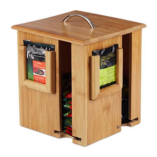 Relaxdays Caja para te e infusiones, Tapa extraible, Cuatro Compartimentos, 160 Sobres, Marron, 20,5 x 18 x 18 cm, Bambu, naturaleza
