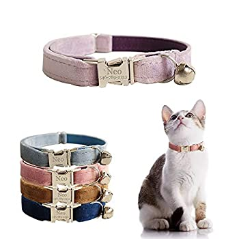 AnNengJing Personalized Cat Collar with Name Plate ,Adjustable Tough Nylon Cat ID Collars with Bell ,Customize Engraved Pet Name and Phone Number  Velvet Style B