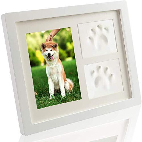FayTun Kit de recuerdo de huellas de mascota, kit de marco de fotos conmemorativo de mascotas con impresión de arcilla, marcos conmemorativos para mascotas para gatos y perros