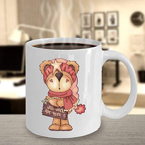 Taza divertida Craft Bear Mug Taza de café Taza personalizada Crochet Gift Crafter Gift Will Work for Yarn Cup 11 oz
