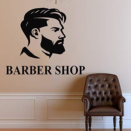 JXWH kappers-wandtattoo kappers salon raam decoratie wandsticker man gezicht vinyl kapsel stijl kapsel design wanddecoratie muurschildering