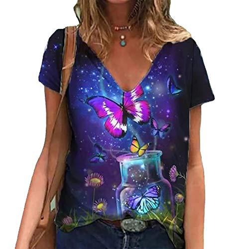 Camiseta con Estampado de Mariposa Vintage para Mujer, Blusas de Manga Corta en 3D, Blusas con Estampado de...