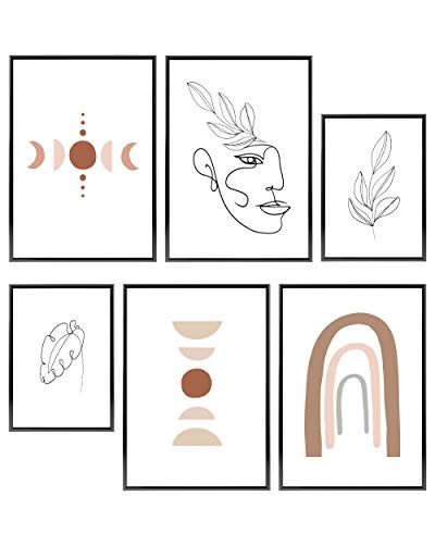 Heimlich Premium Set of Prints | UNFRAMED | Stylish Photo and Quote Prints Fashion Wall Decor | Glam Wall Decor for Living Room and Bedroom | 4x 11x17 and 2x 8x10 | NO FRAMES»Boho Bohemian Abstract I«