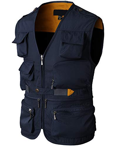 H2H Mens Active Work Utility Hunting Travels Sports Sleeveless Vest Navy US S/Asia M (KMOV0116)