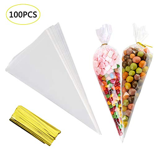 GOETOR Cone Bag 200 PCS Clear Cello Treat Bags 14.57 by 7 Inch Triangle Goody Bags with Twist Ties for Favor Christmas Popcorn Candies Handmad