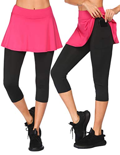 COOrun Women's Tennis Golf Skirts with Leggings Elastic Workout Capri Skort,Rose Red Medium