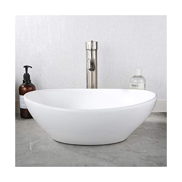 KES Lavabos Sobre Encimera Baño Ovalado Blanco 42,5 x 34 x 14,5 cm BVS124
