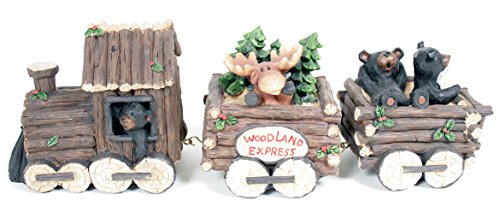 Slifka Sales Co. 3 Piece Bear and Moose Woodland Express Holday Decor Train